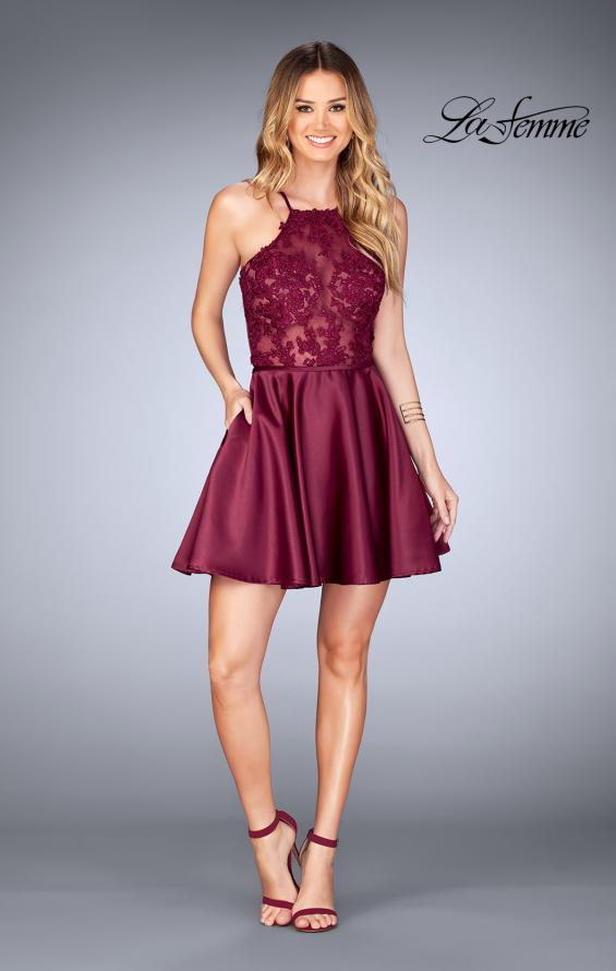 Picture of: Sheer Illusion Dress with Scattered Lace and Short Skirt in Burgundy, Style: 25202, Detail Picture 2
