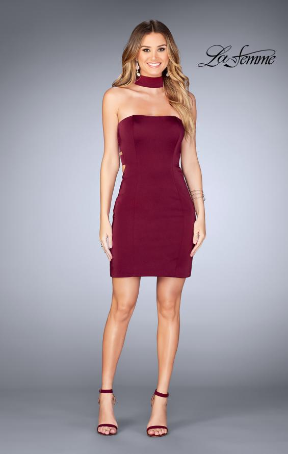 Picture of: Tight Jersey Homecoming Dress with Attached Choker, Style: 25062, Detail Picture 3