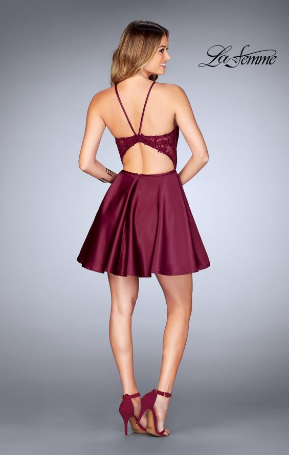 Picture of: Sheer Illusion Dress with Scattered Lace and Short Skirt in Burgundy, Style: 25202, Detail Picture 3