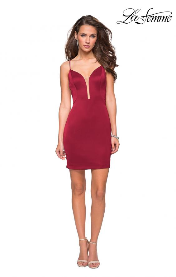 Picture of: Form Fitting Homecoming Dress with Strappy Open Back in Burgundy, Style: 26638, Detail Picture 3