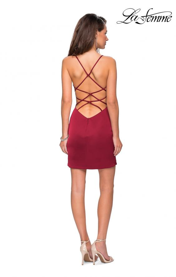 Picture of: Form Fitting Homecoming Dress with Strappy Open Back in Burgundy, Style: 26638, Detail Picture 4