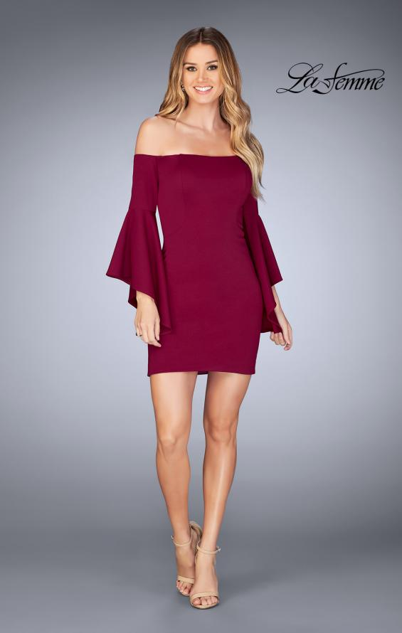 Picture of: Off the Shoulder Ruffle Sleeve Homecoming Dress in Burgundy, Style: 25033, Detail Picture 5
