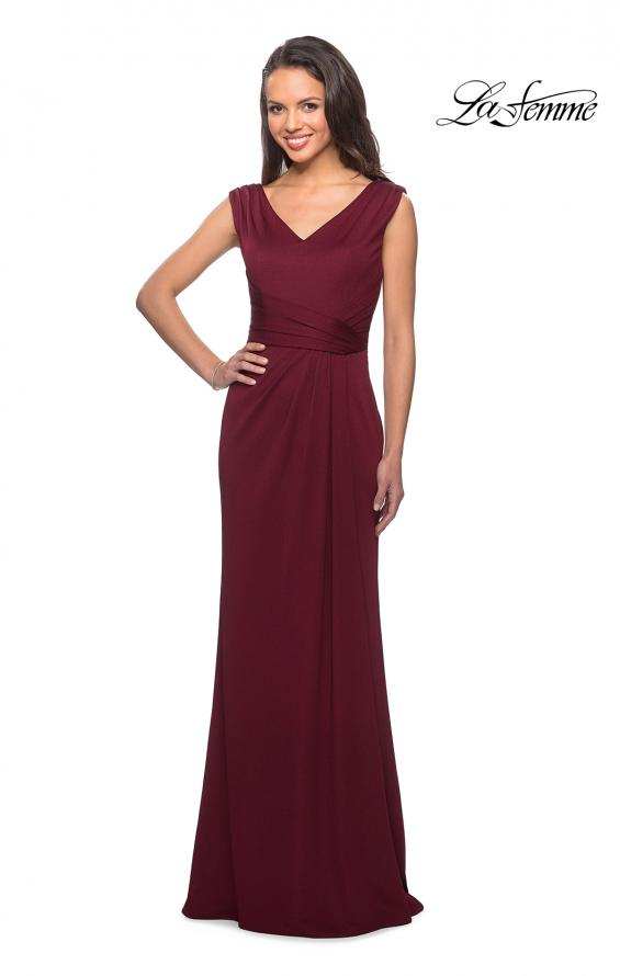 Picture of: Simple Long Jersey Dress with Empire Waist in Burgundy, Style: 26410, Main Picture