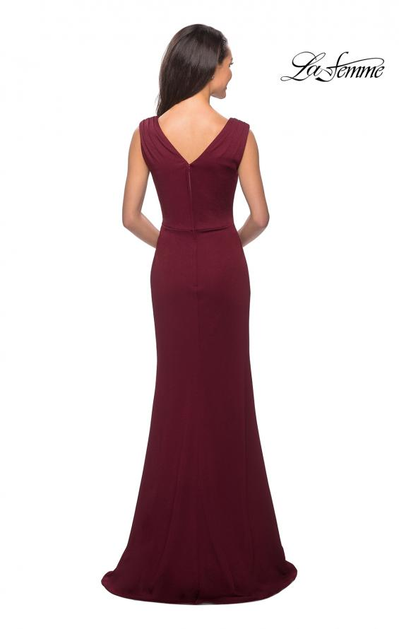 Picture of: Simple Long Jersey Dress with Empire Waist in Burgundy, Style: 26410, Back Picture
