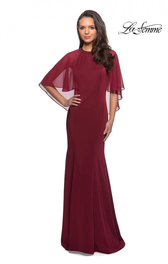 Picture of: Long Gown with sheer sleeves and beaded neckline in Burgundy, Style: 25006, Detail Picture 1