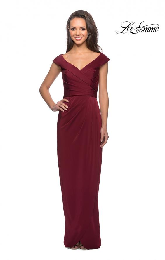 Picture of: Long Jersey Dress with Ruching and Cap Sleeves in Burgundy, Style: 25206, Detail Picture 1