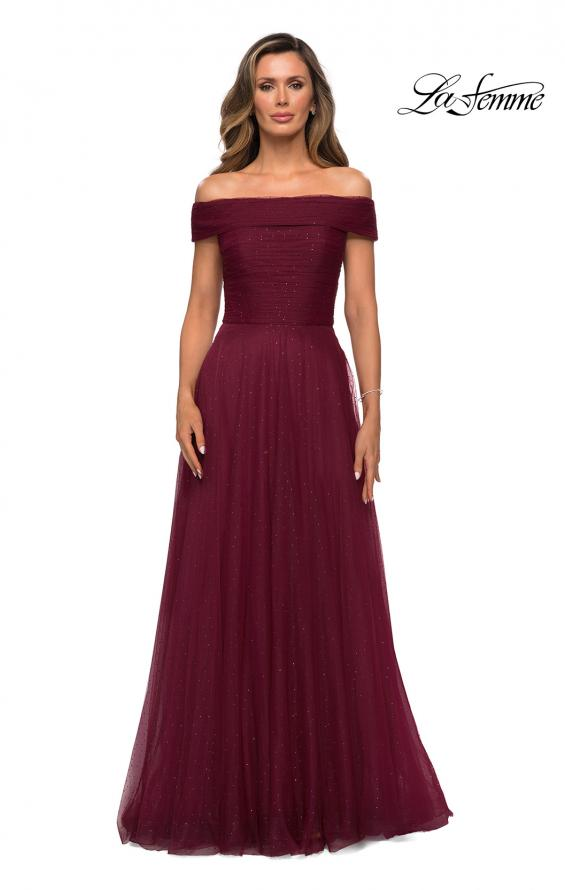 Picture of: Tulle Off the Shoudler A-line Dress with Rhinestones in Burgundy, Style: 28051, Detail Picture 1