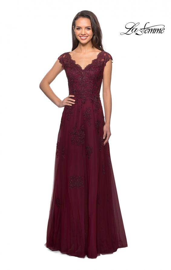 Picture of: Short Sleeve Lace Gown with Cascading Embellishments in Burgundy, Style: 26942, Detail Picture 3