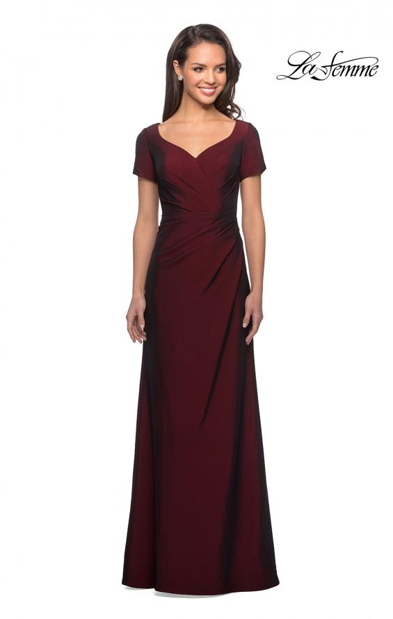 Picture of: Short Sleeve Floor Length Gown with Ruching in Burgundy, Style: 27855, Detail Picture 4