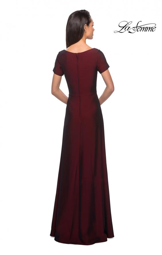 Picture of: Short Sleeve Floor Length Gown with Ruching in Burgundy, Style: 27855, Detail Picture 5