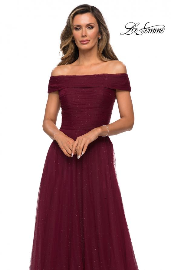 Picture of: Tulle Off the Shoudler A-line Dress with Rhinestones in Burgundy, Style: 28051, Detail Picture 5