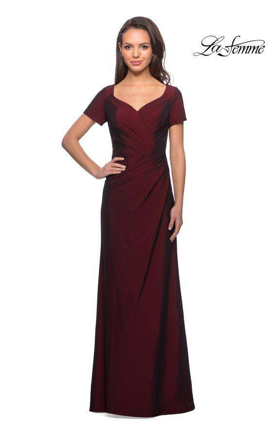 Picture of: Short Sleeve Floor Length Gown with Ruching with Burgundy, Style: 27855, Detail Picture 6