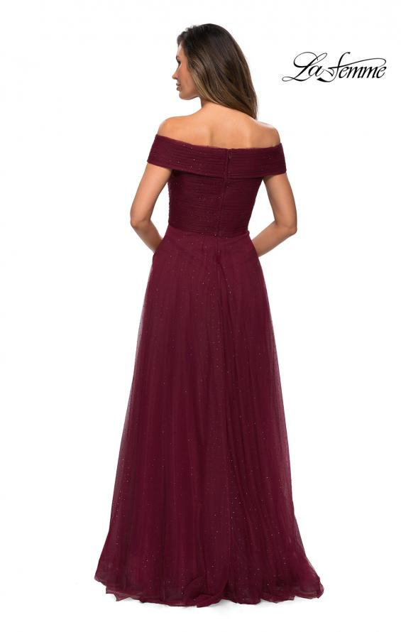 Picture of: Tulle Off the Shoudler A-line Dress with Rhinestones in Burgundy, Style: 28051, Detail Picture 6