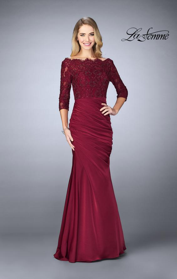 Picture of: Gathered Mermaid Satin Gown with Lace Top, Style: 24926, Detail Picture 2