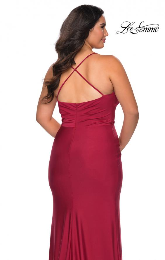Picture of: Jersey Prom Dress for Curves with Slit and Criss Cross Back in Burgundy, Style: 29022, Detail Picture 4