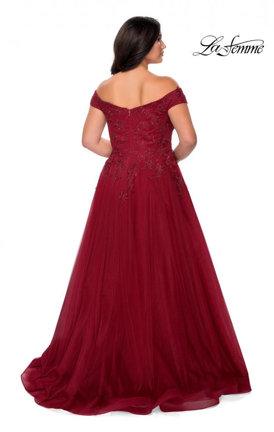 Picture of: Off The Shoulder Tulle Plus Size Gown with Lace in Burgundy, Style: 28950, Detail Picture 6