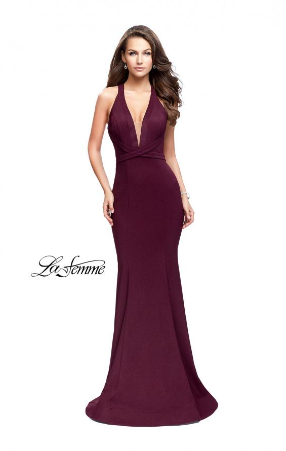 Picture of: Form Fitting Mermaid Prom Dress with Low V Open Back in Burgundy, Style: 25503, Main Picture