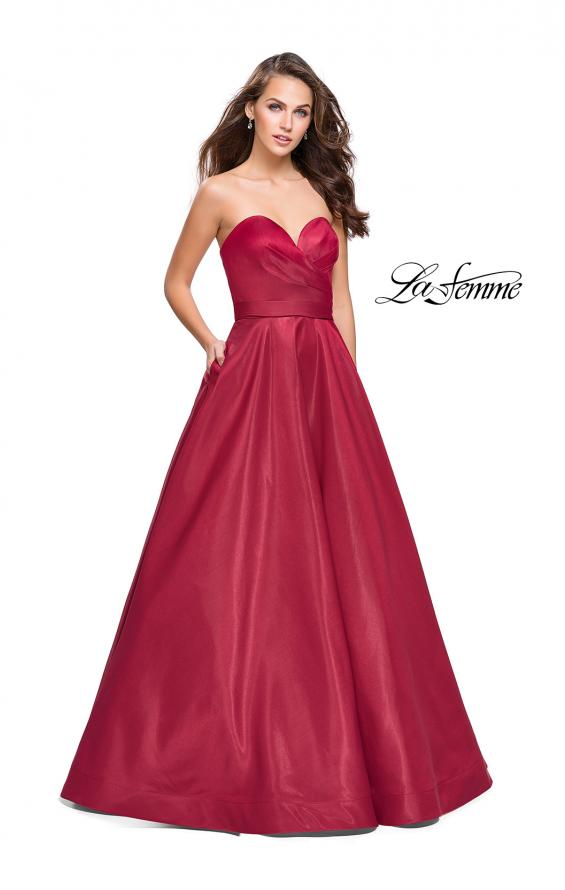 Picture of: Strapless Ball Gown with Wrapped Bodice and Pockets in Burgundy, Style: 25953, Main Picture