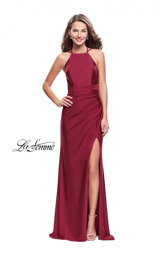 Picture of: High Neck Long Form Fitting Gown with Ruching, Style: 26141, Main Picture