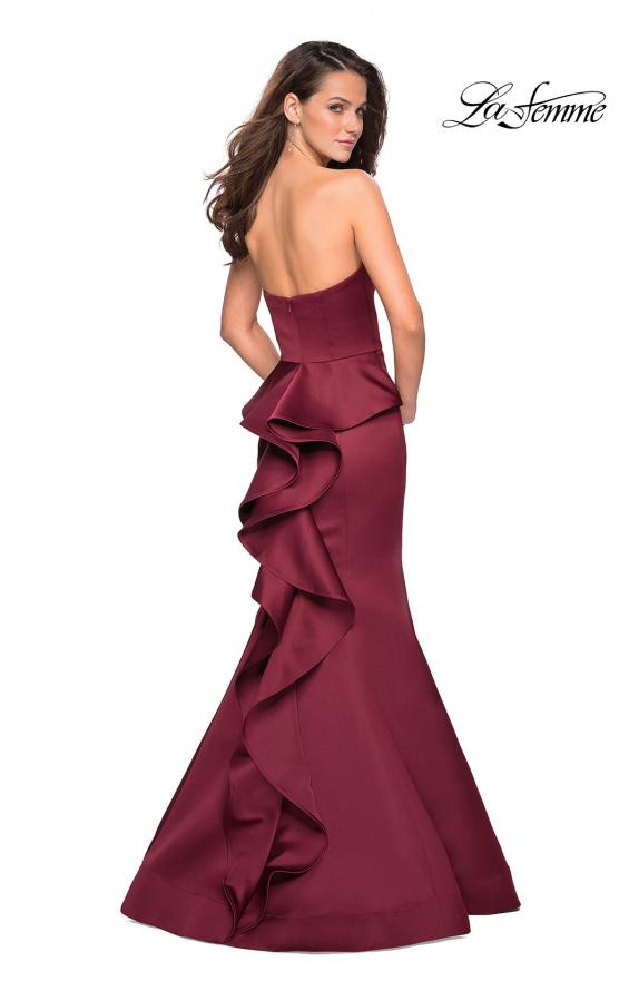 Picture of: Strapless V Prom Gown with Cascading Ruffle Back in Burgundy, Style: 27105, Main Picture