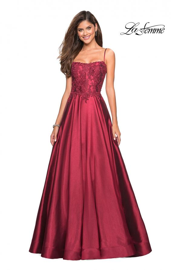 Picture of: Long Mikado Gown with Lace Bust and Open Back in Burgundy, Style: 27222, Main Picture