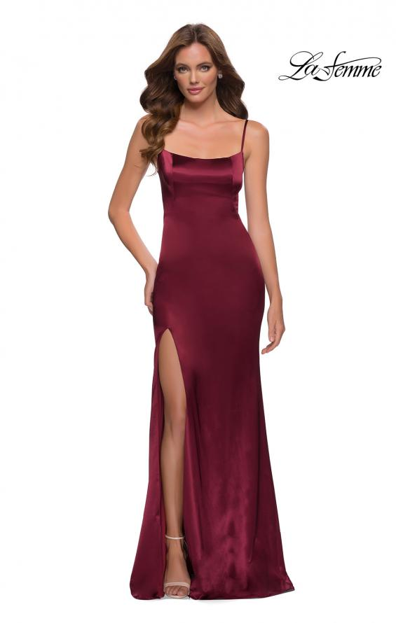 Picture of: Fitted Stretch Satin Dress with Scoop Back in Burgundy, Style 29945, Main Picture