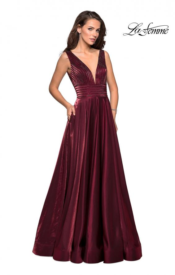 Picture of: Satin Prom Gown with beaded Bust and Pockets in Burgundy, Style: 27205, Detail Picture 8