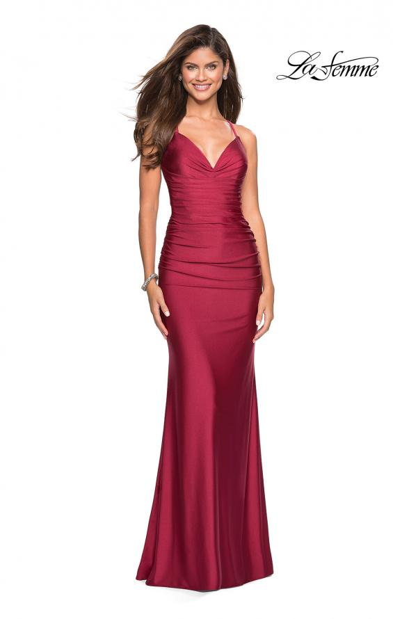 Picture of: Form Fitting Jersey Dress with Ruching and Strappy Back in Burgundy, Style: 27501, Detail Picture 9