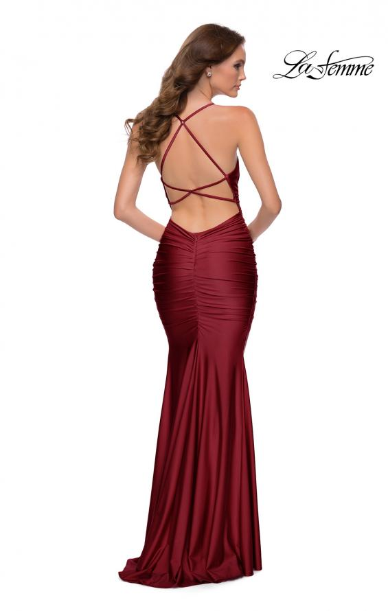 Picture of: On Trend Jersey Long Dress with Ruching on Bodice in Burgundy, Style 29873, Detail Picture 11