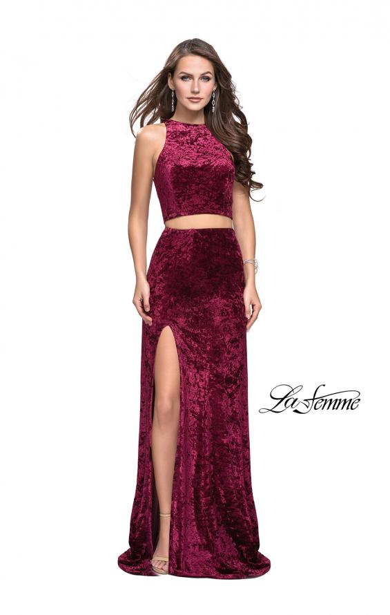 Picture of: Crush Velvet Two Piece Prom Dress with Slit in Burgundy, Style: 25431, Back Picture