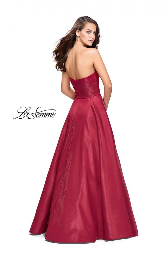 Picture of: Strapless Ball Gown with Wrapped Bodice and Pockets in Burgundy, Style: 25953, Back Picture