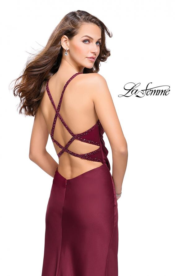 Picture of: Satin Prom Dress with Ruching and Open Strappy Back in Burgundy, Style: 26036, Back Picture