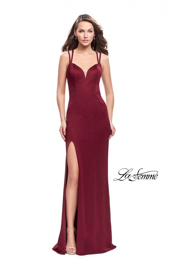 Picture of: Shimmering Prom Dress with Leg Slit and Open Back in Burgundy, Style: 26266, Back Picture