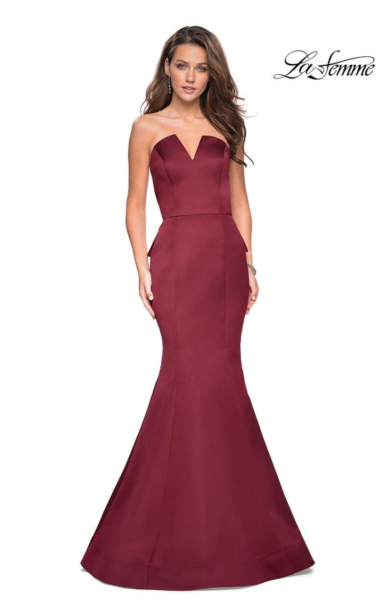 Picture of: Strapless V Prom Gown with Cascading Ruffle Back in Burgundy, Style: 27105, Back Picture