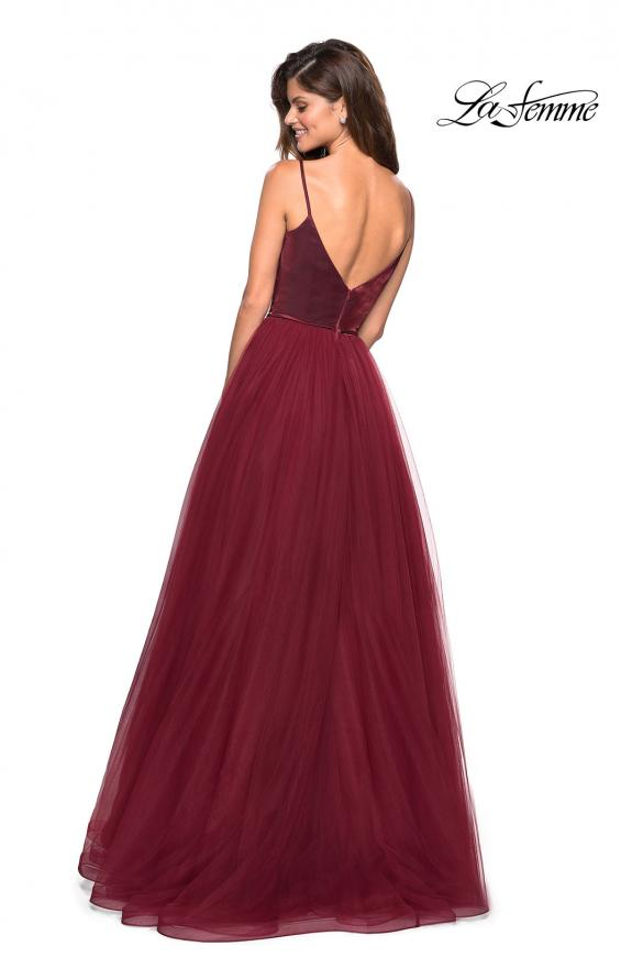 Picture of: Tulle evening Gown with Satin Bust and V Shaped Back in Burgundy, Style: 27485, Back Picture