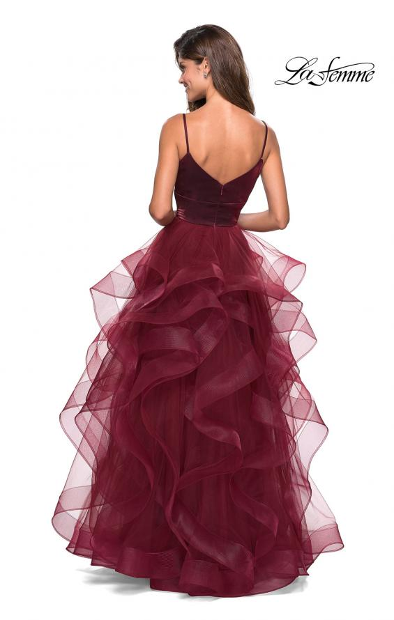 Picture of: Cascading Tulle Gown with Satin Top and V Back in Burgundy, Style: 27502, Back Picture