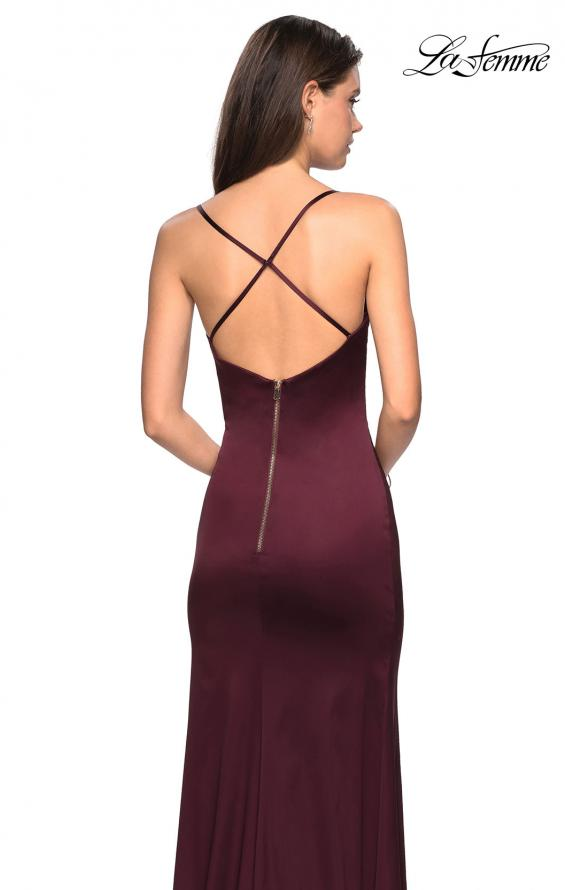 Picture of: Form Fitting Satin Prom Dress with Ruching in Burgundy, Style: 27782, Back Picture