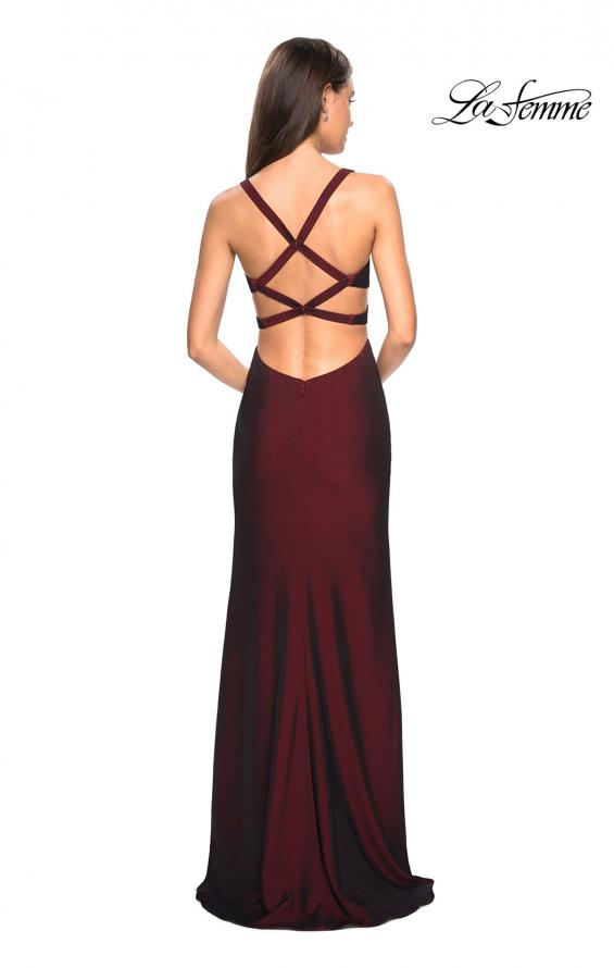 Picture of: Long Jersey Prom Dress with Side Cut Outs, Style: 27785, Back Picture