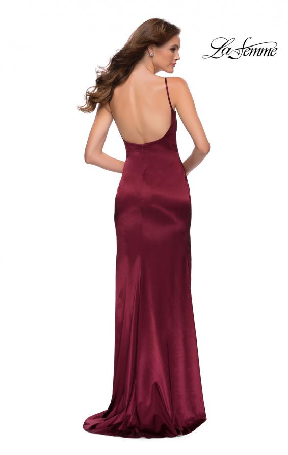 Picture of: Fitted Stretch Satin Dress with Scoop Back in Burgundy, Style 29945, Back Picture