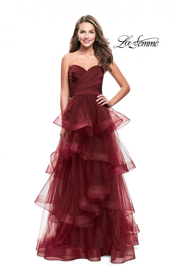 Picture of: Long Tulle Gown with Sweetheart Neckline in Burgundy, Style: 25430, Detail Picture 1