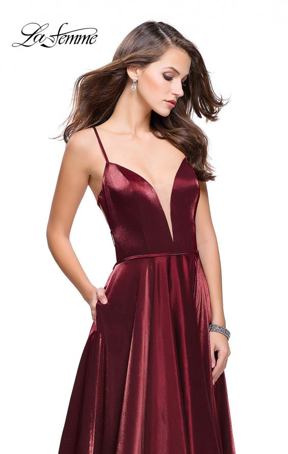 Picture of: Satin A-line Gown with Deep V Sweetheart Neckline in Burgundy, Style: 25670, Detail Picture 1
