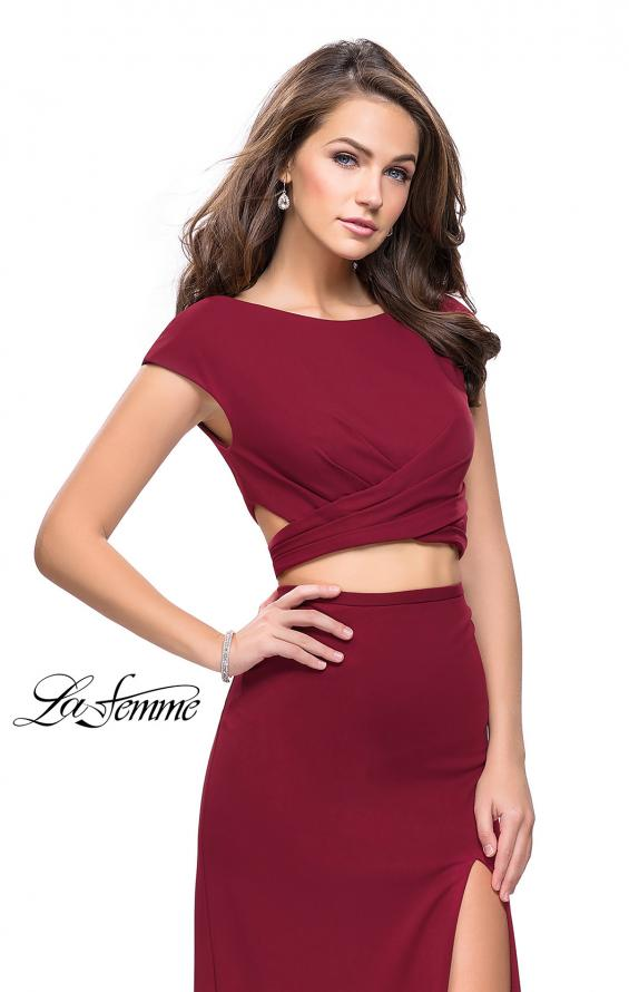 Picture of: Two Piece Wrap Jersey Prom Dress with Short Sleeves in Burgundy, Style: 25815, Detail Picture 1
