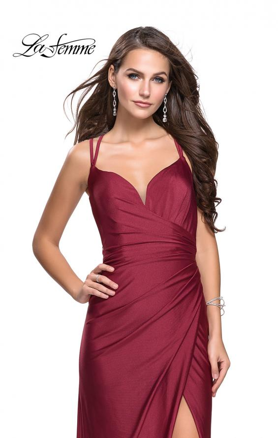 Picture of: Long Jersey Prom Dress with Ruching Side Wrap Detail, Style: 26317, Detail Picture 1