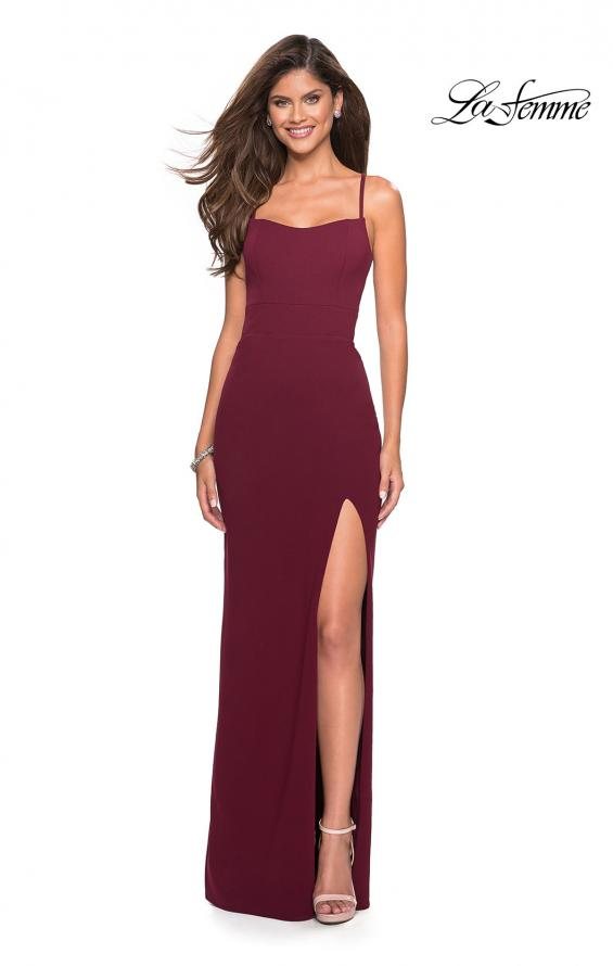 Picture of: Long Jersey Dress with Slit and Strappy Back in Burgundy, Style: 26940, Detail Picture 1