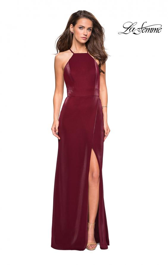 Picture of: Two Tone Long Gown with High Neckline and Side Slit, Style: 26962, Detail Picture 1