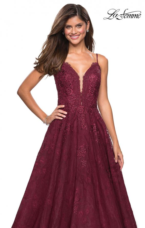 Picture of: Lace Detail Long A Line Prom Dress with Open Back in Burgundy, Style: 27030, Detail Picture 1