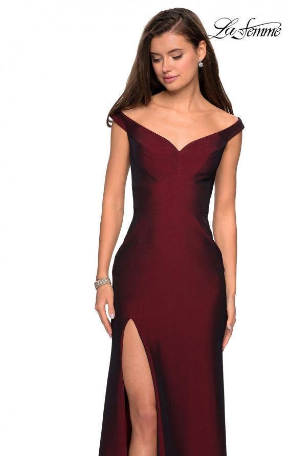 Picture of: Elegant Off the Shoulder Dress with Side Leg Slit in Burgundy, Style: 27587, Detail Picture 1