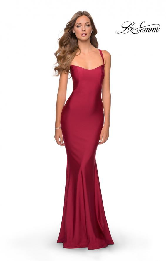 Picture of: Form Fitting Prom Dress with Dramatic Lace Up Back in Burgundy, Style: 28568, Detail Picture 1