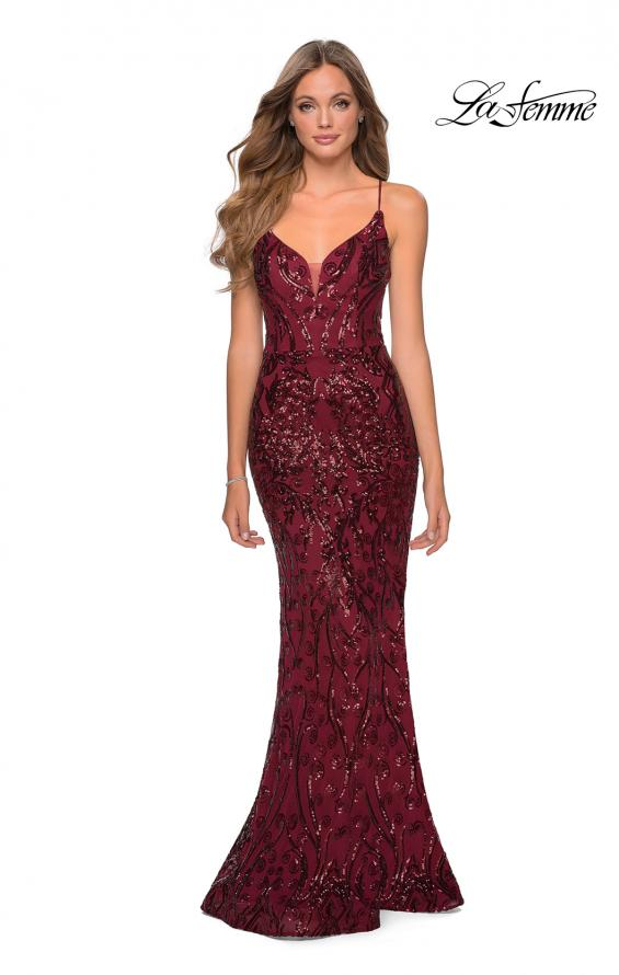 Picture of: Long Prom Dress with Intricate Sequin Lace Design in Burgundy, Style: 28828, Detail Picture 1