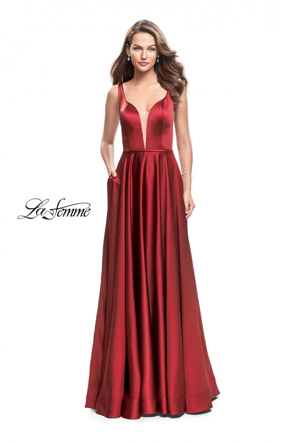 Picture of: Satin A line Prom Dress with Deep V Back in Burgundy, Style: 25455, Detail Picture 2